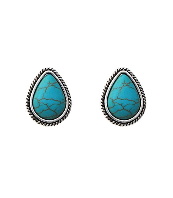 New Arrival :: Wholesale Teardrop Turquoise Stud Earrings