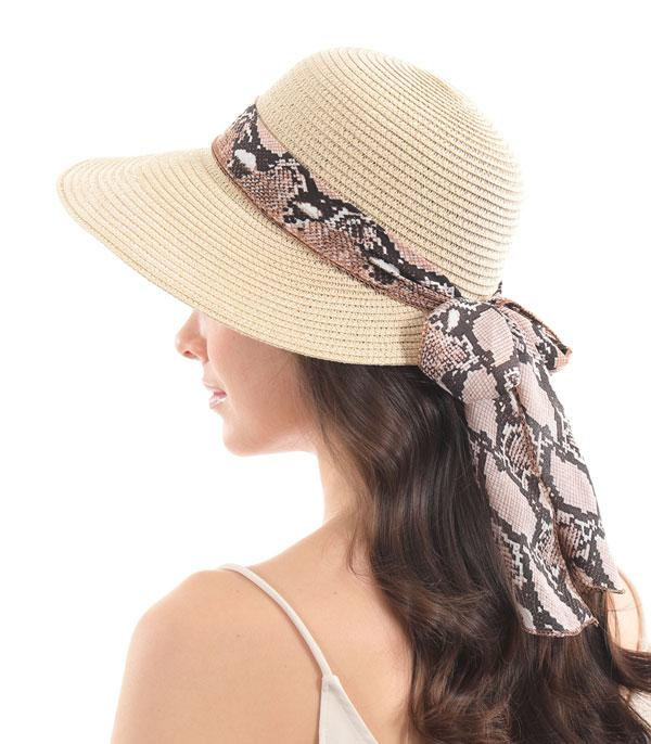 New Arrival :: Wholesale Python Bow Straw Hat