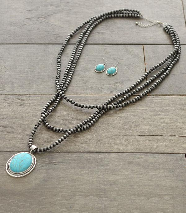 New Arrival :: Wholesale Turquoise Navajo Pearl Layered Necklace