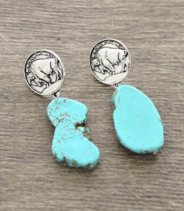 New Arrival :: Wholesale Buffalo Coin Turquoise Earrings