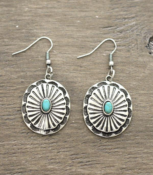 New Arrival :: Wholesale Turquoise Western Concho Earrings