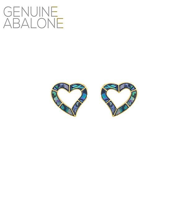 New Arrival :: Wholesale Abalone Heart Stud Earrings