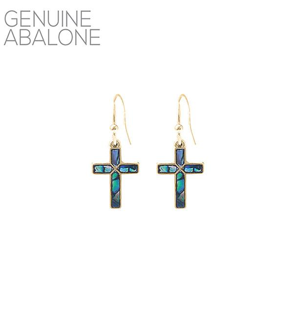New Arrival :: Wholesale Abalone Cross Dangle Earrings