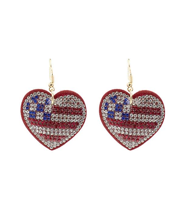New Arrival :: Wholesale USA Flag Rhinestone Heart Earrings