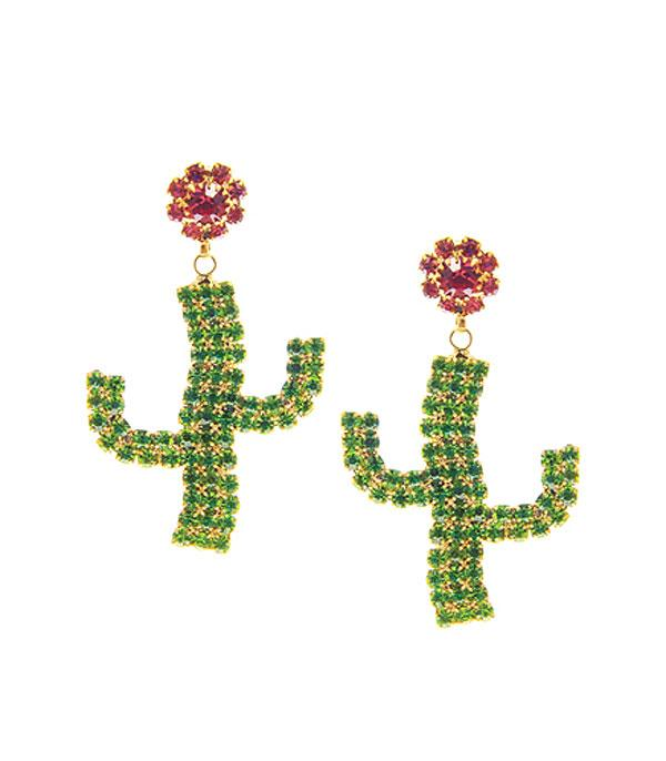 New Arrival :: Wholesale Cactus Rhinestone Earrings