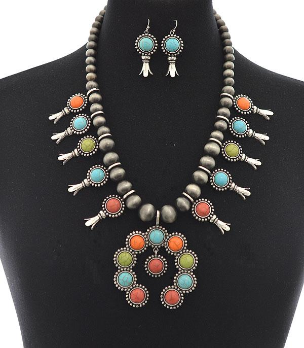 New Arrival :: Wholesale Squash Blossom Stone Necklace Set