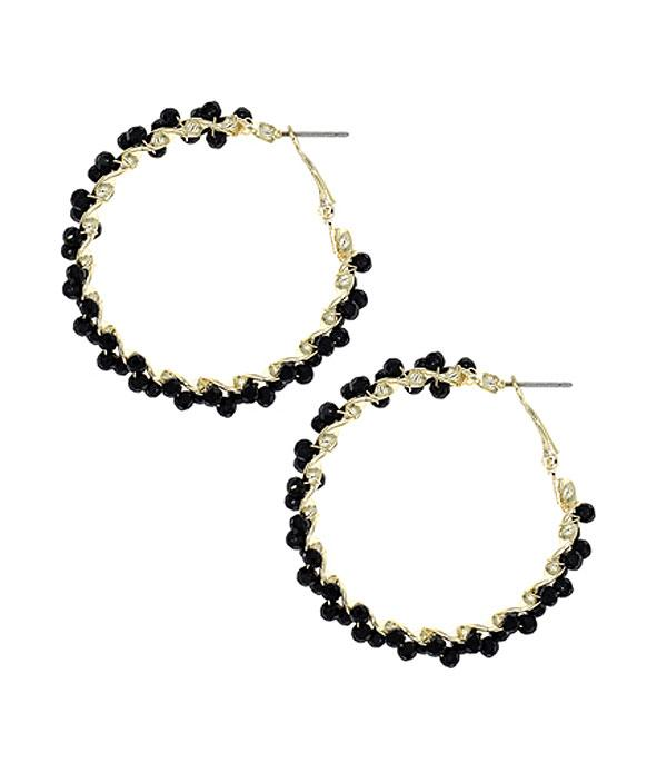 New Arrival :: Wholesale Wired Glass Bead Hoop Earrings