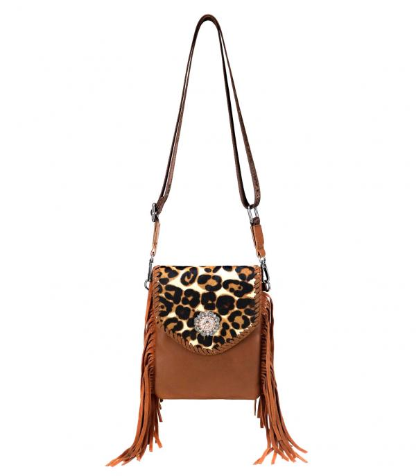 New Arrival :: Wholesale Montana West Leopard Fringe Crossbody