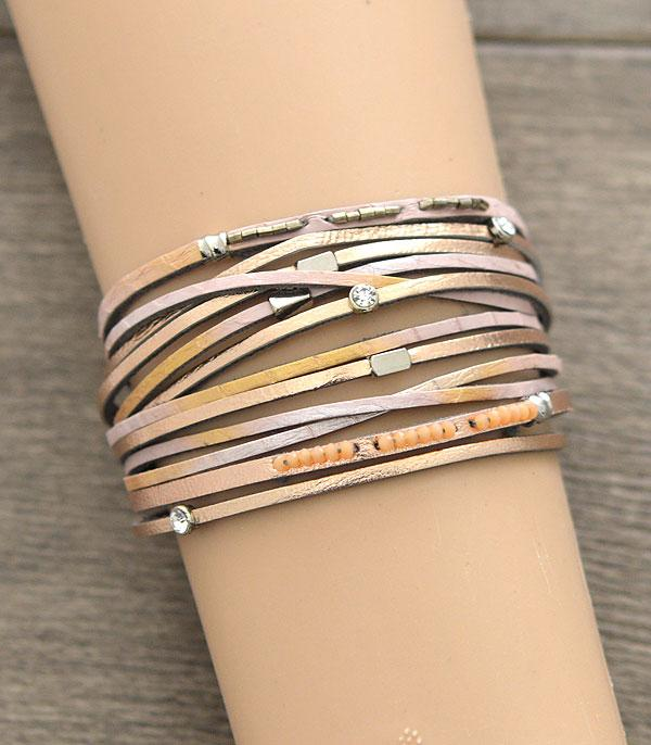 New Arrival :: Wholesale Multi Strand Leather Magnetic Bracelet
