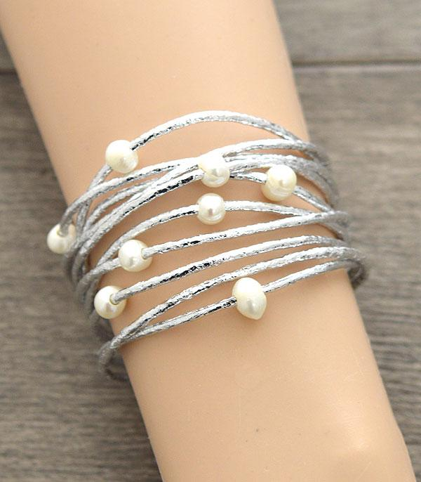 New Arrival :: Wholesale Pearl Multi Strand Magnetic Bracelet