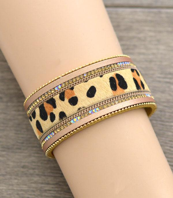 New Arrival :: Wholesale Leopard Hair-On Magnetic Bracelet