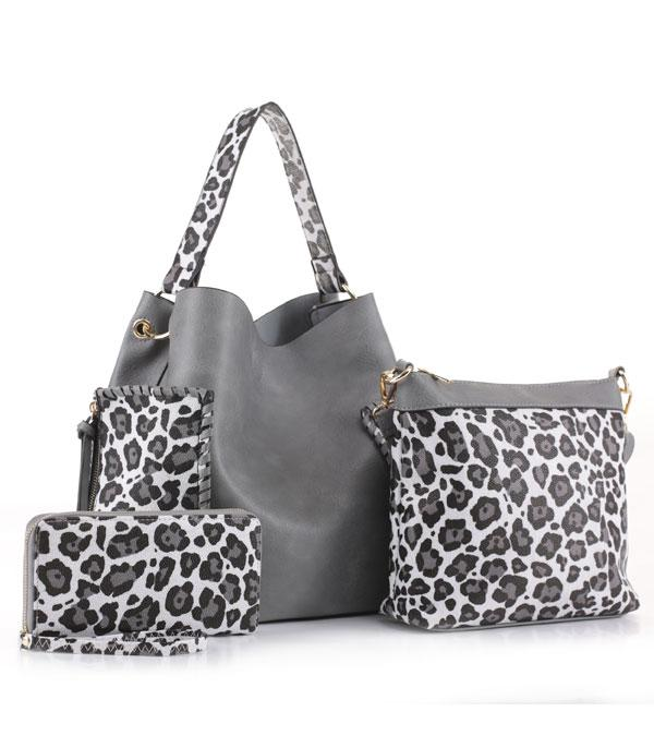 New Arrival :: Wholesale 3PC Set Leopard Faux Leather Hobo
