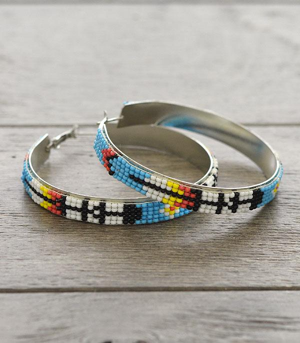 New Arrival :: Wholesale Aztec Seed Beaded Hoop Earrings