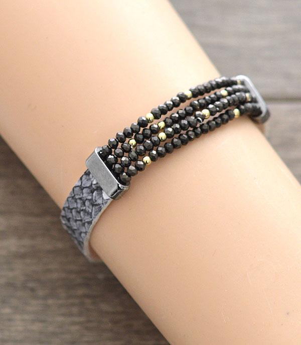 New Arrival :: Wholesale Leather Bracelet w/Glass Beads