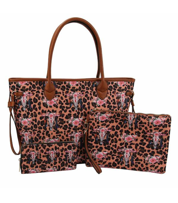 New Arrival :: Wholesale Leopard Bull Skull 3 In 1 Set Bag