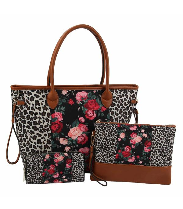 New Arrival :: Wholesale Leopard Floral 3 IN 1 Set Bag