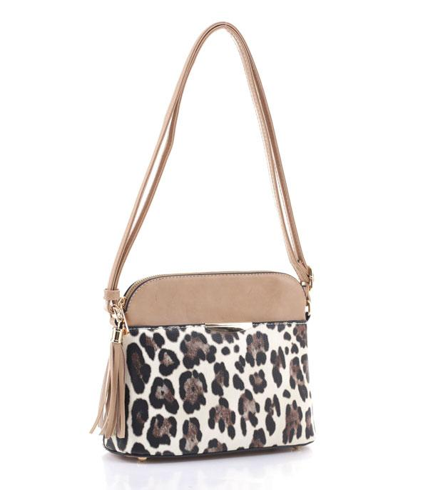 New Arrival :: Wholesale Leopard Trim Faux Leather Crossbody Bag
