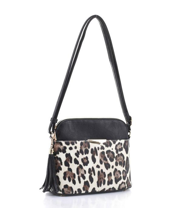 New Arrival :: Wholesale Leopard Trim Crossbody Bag