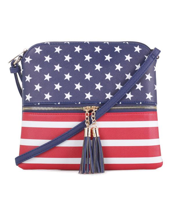 <font color=RED>RED,WHITE, AND BLUE</font> :: Wholesale US Flag Faux Leather Crossbody Bag