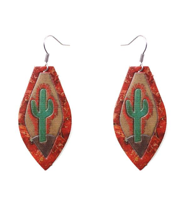 New Arrival :: Wholesale Leather Cactus Earrings