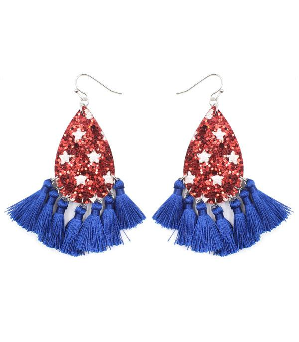 New Arrival :: Wholesale Patriotic Glitter Tassel Earrings