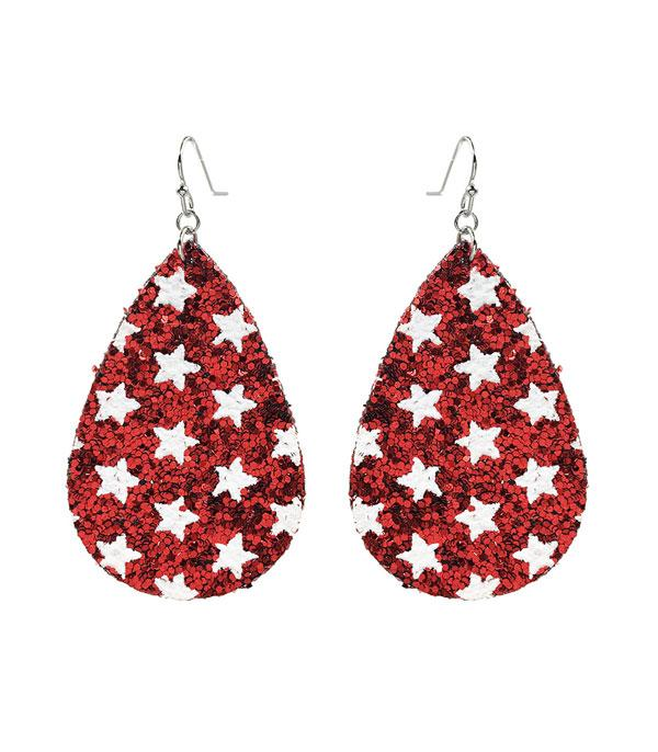 <font color=RED>RED,WHITE, AND BLUE</font> :: Wholesale Patriotic Glitter Teardrop Earrings