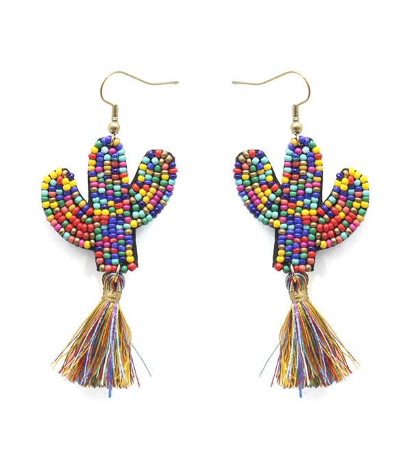 New Arrival :: Wholesale Seed Bead Cactus Tassel Earrings