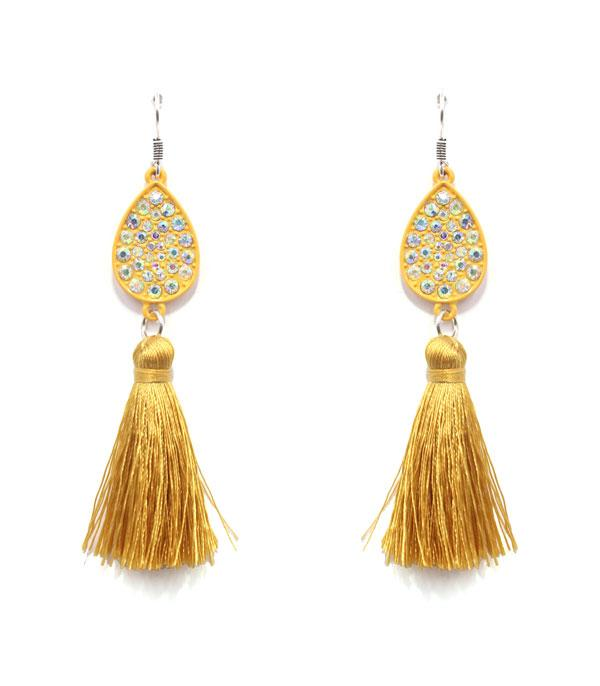 New Arrival :: Wholesale Rhinestone Teardrop Tassel Earrings