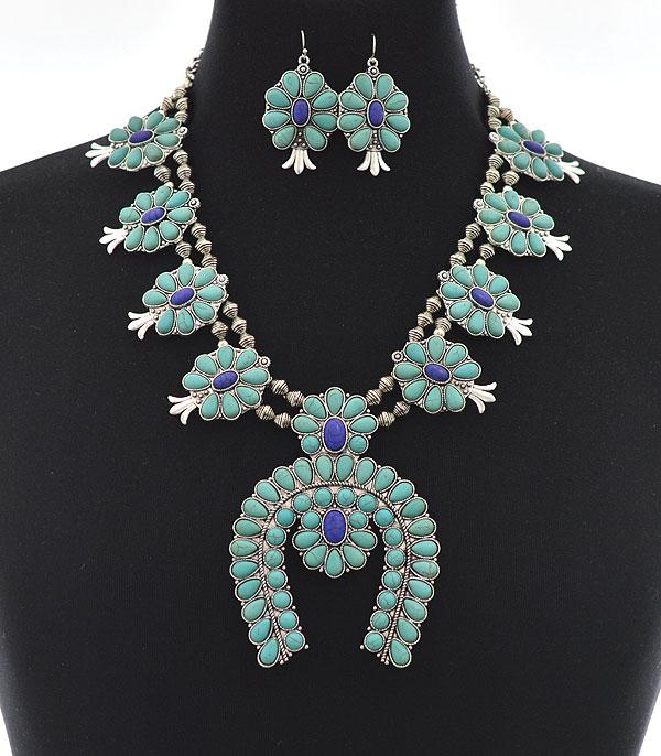 New Arrival :: Wholesale Turquoise Squash Blossom Necklace Set
