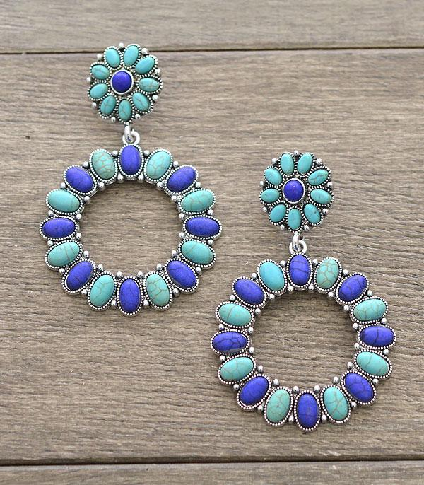 New Arrival :: Wholesale Turquoise Western Statement Earrings
