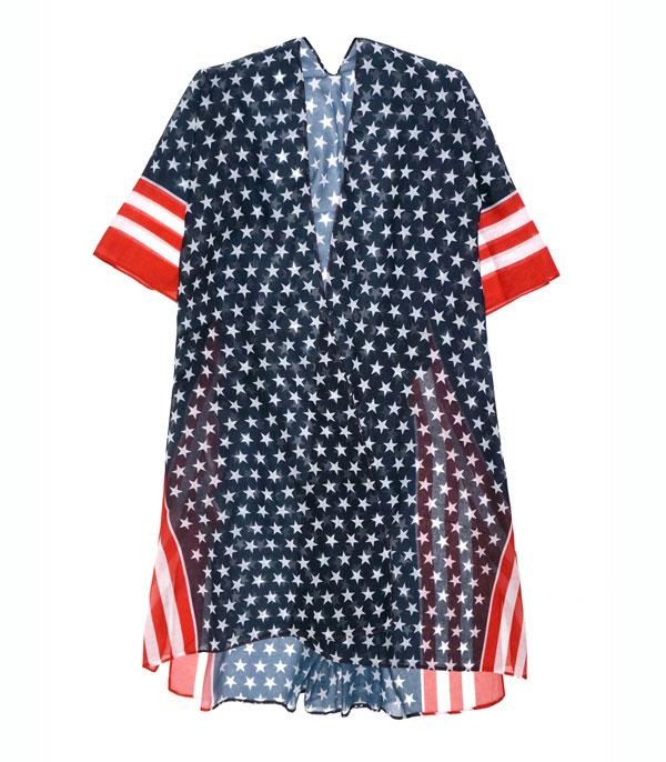 <font color=RED>RED,WHITE, AND BLUE</font> :: Wholesale American Flag Kimono