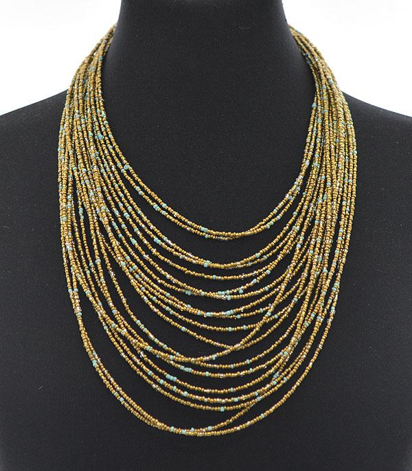 NECKLACES :: TRENDY :: Wholesale Layered Seed Bead Necklace