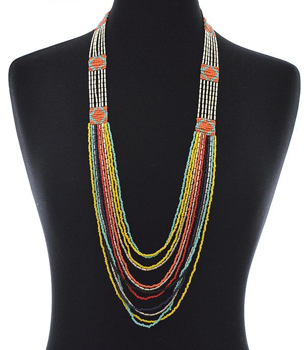 New Arrival :: Wholesale Aztec Seed Bead Layered Necklace