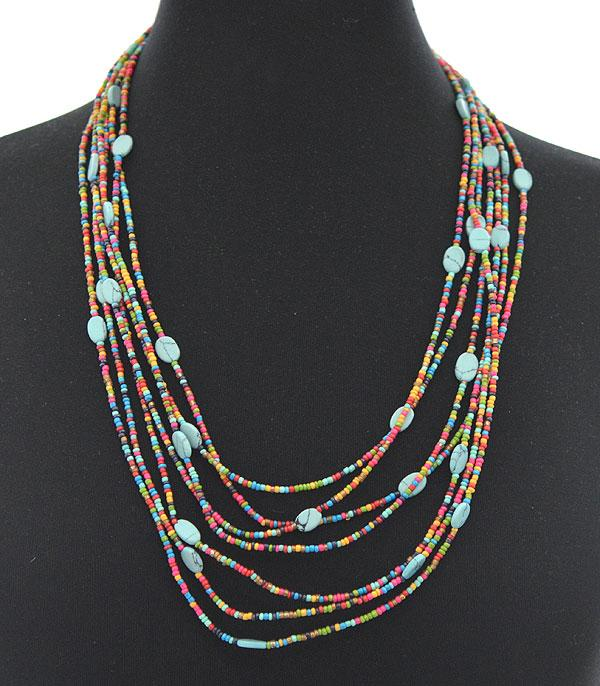 New Arrival :: Wholesale Turquoise Seed Bead Layered Necklace