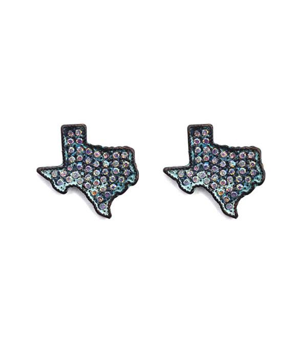 New Arrival :: Wholesale Rhinestone Texas Map Stud Earrings