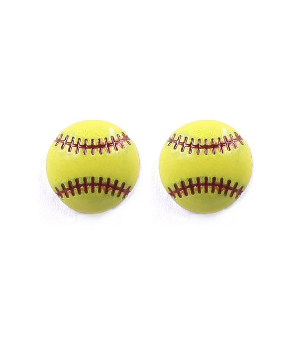 New Arrival :: Wholesale Softball Stud Earrings