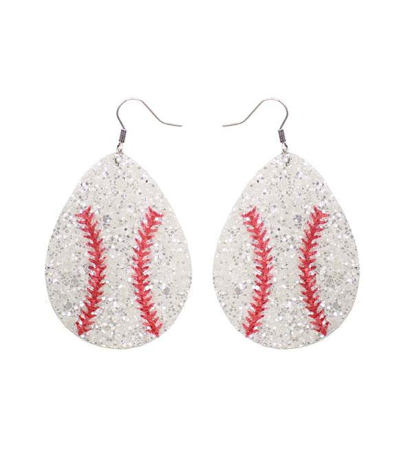 New Arrival :: Wholesale Glitter Teardrop Baseball Earrings