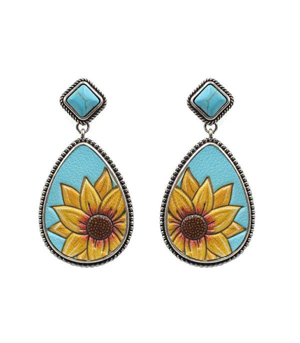New Arrival :: Wholesale Teardrop Sunflower Leather Earrings