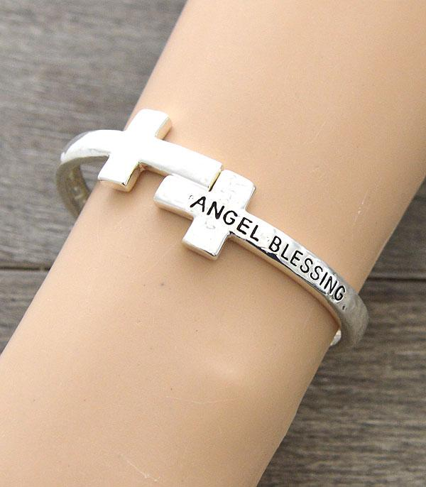 New Arrival :: Wholesale Angel Blessing Message Cross Bracelet