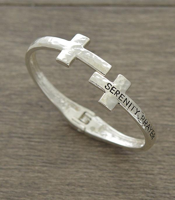 New Arrival :: Wholesale Serenity Prayer Message Cross Bracelet
