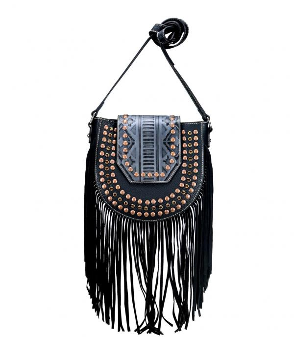 New Arrival :: Wholesale Trinity Ranch Embossed Fringe Crossbody