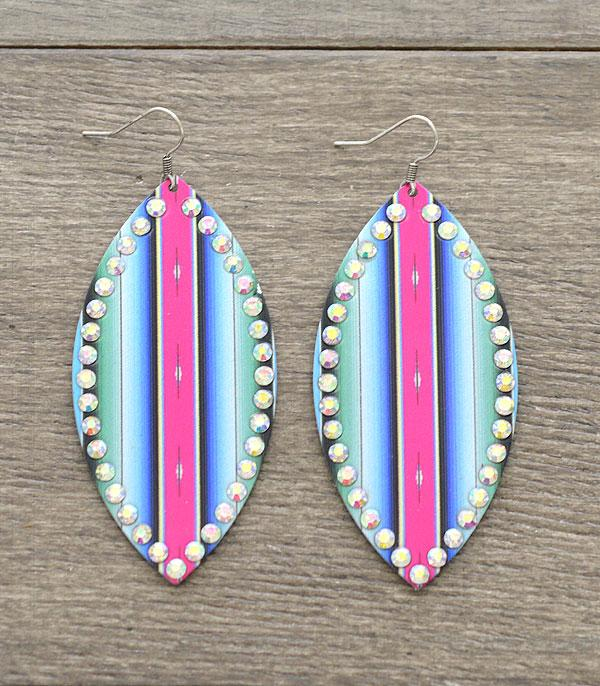 New Arrival :: Wholesale Serape Print Rhinestone Earrings