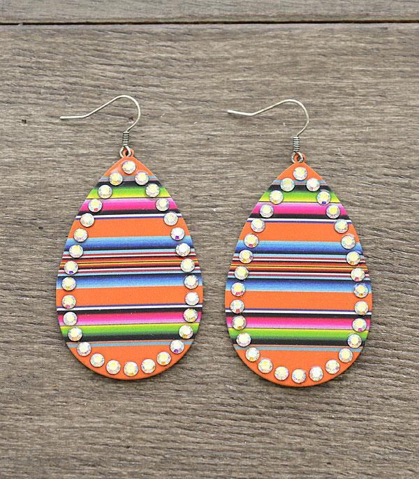 New Arrival :: Wholesale Serape Print Teardrop Earrings