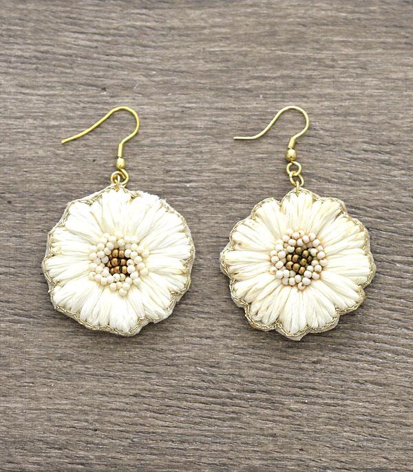New Arrival :: Wholesale Flower Raffia Earrings