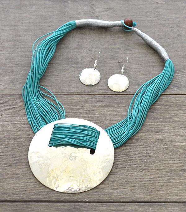 New Arrival :: Wholesale Silver Large Disk Choker Necklace Set
