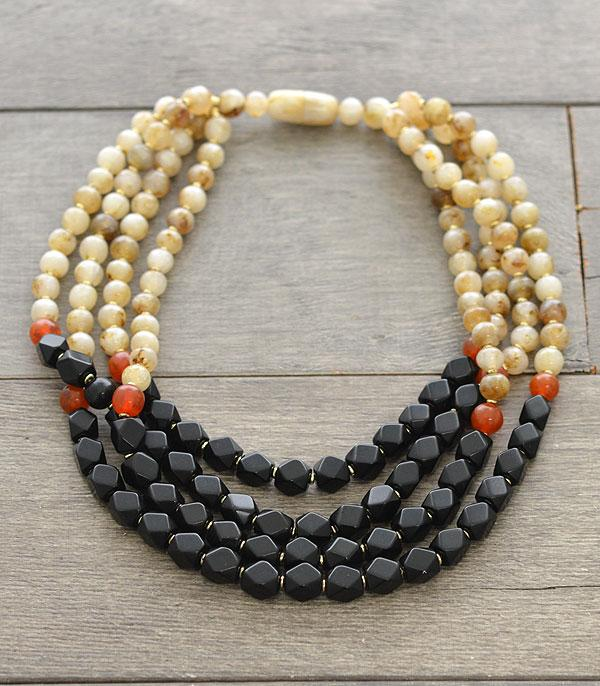 New Arrival :: Wholesale Multi Strand Glass Bead Necklace