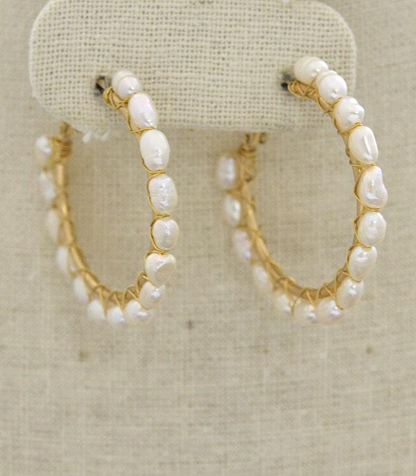 New Arrival :: Wholesale Freshwater Pearl Hoop Earrings
