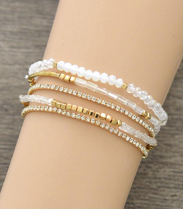 New Arrival :: Wholesale Glass Bead Pearl Stacked Bracelet