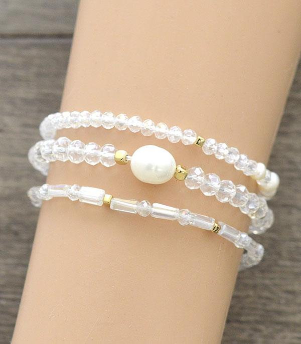 New Arrival :: Wholesale Pearl Beads Bracelet Set