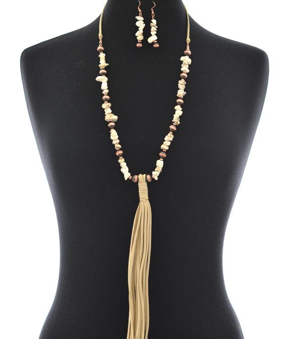 New Arrival :: Wholesale Western Tassel Stone Necklace Set